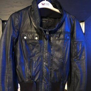 Zara basic black leather bomber size Xs